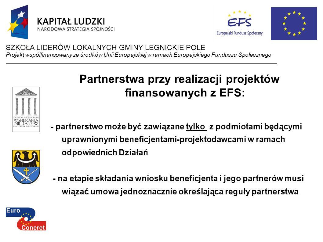 Partnerstwa przy realizacji projektów finansowanych z EFS: