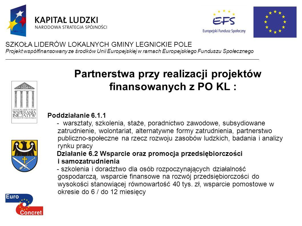 Partnerstwa przy realizacji projektów finansowanych z PO KL :