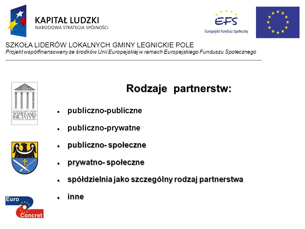 Rodzaje partnerstw: publiczno-publiczne publiczno-prywatne