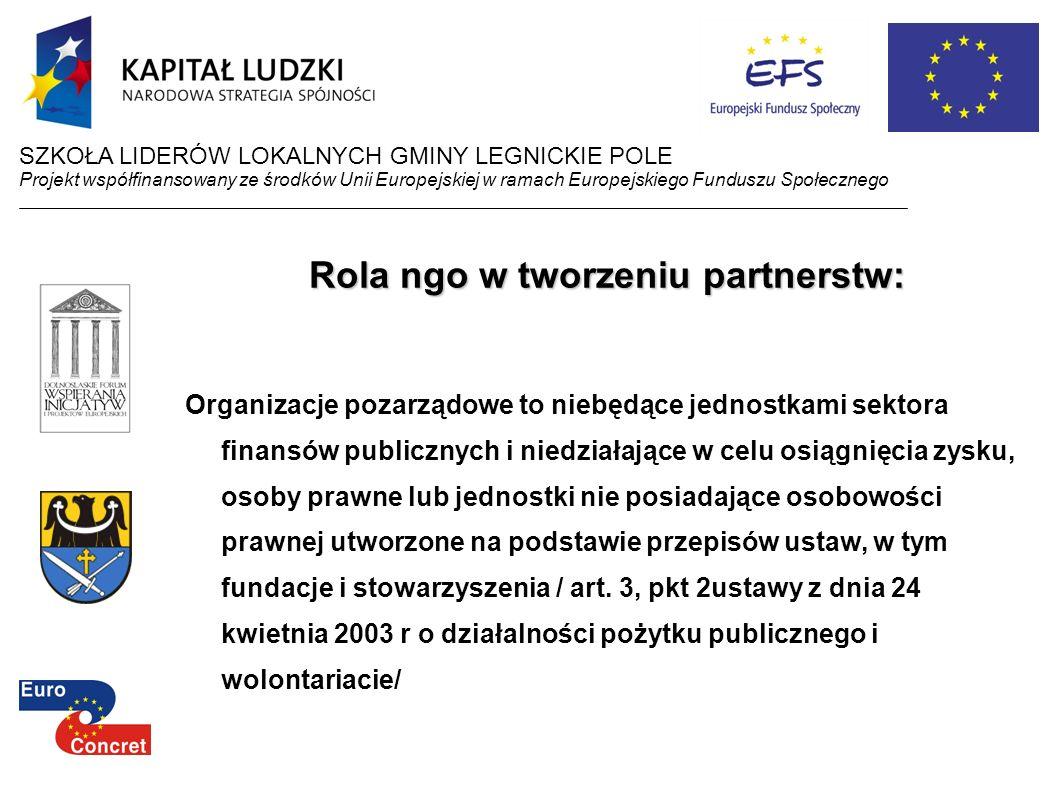 Rola ngo w tworzeniu partnerstw: