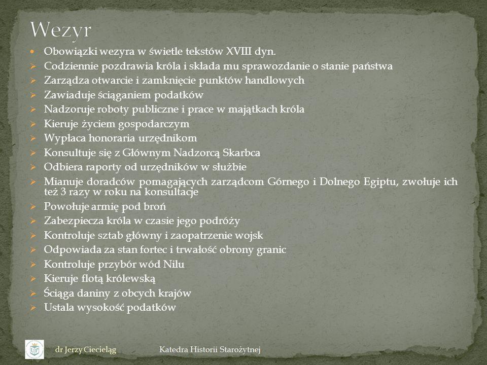 Wezyr Obowiązki wezyra w świetle tekstów XVIII dyn.