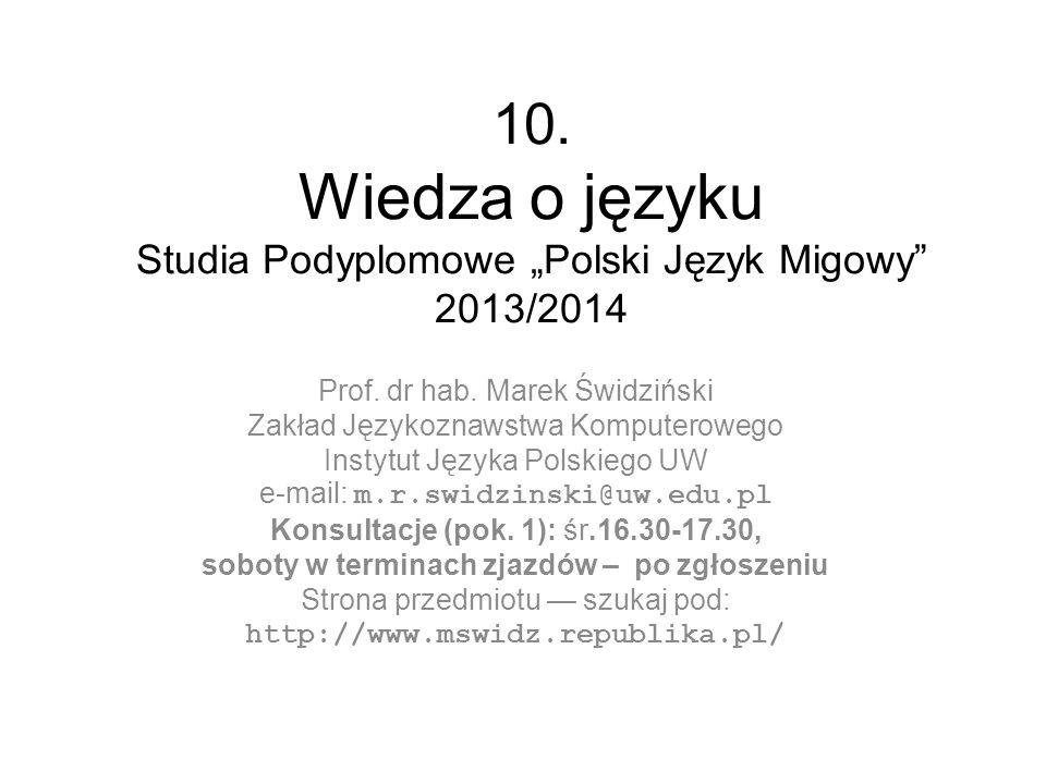 """10. Wiedza o języku Studia Podyplomowe """"Polski Język Migowy 2013/2014"""