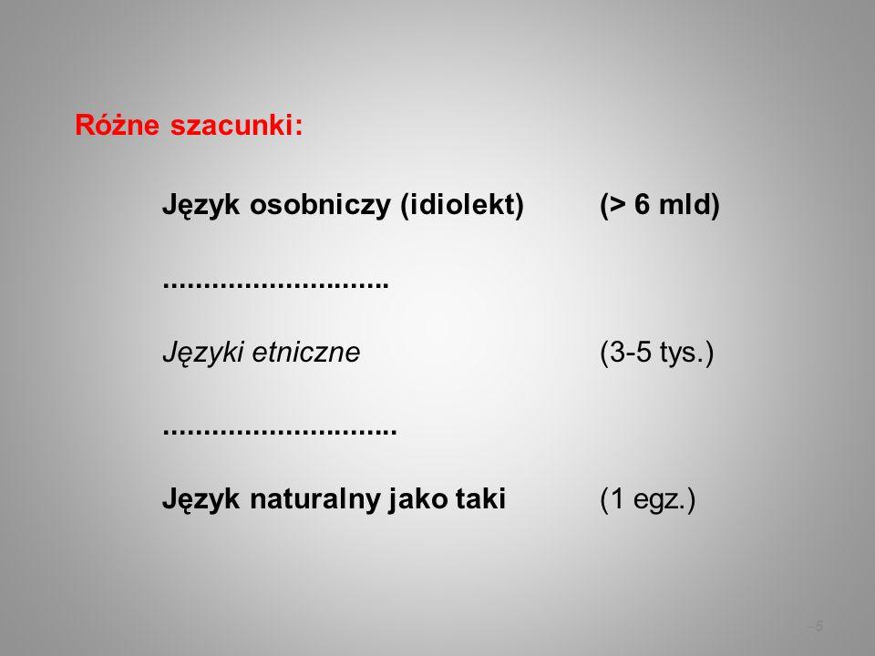 Różne szacunki: Język osobniczy (idiolekt) (> 6 mld)