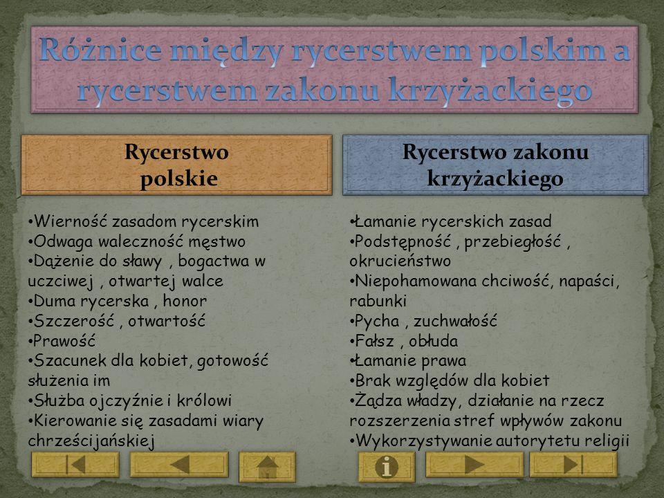 Różnice między rycerstwem polskim a rycerstwem zakonu krzyżackiego