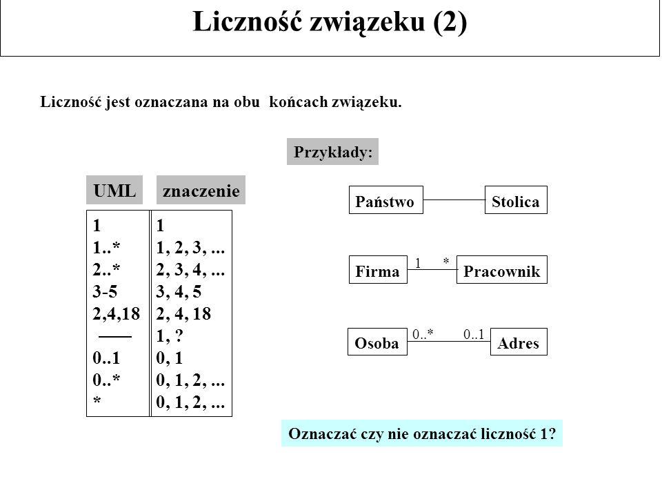 Liczność związeku (2) UML znaczenie 1 1..* 2..* 3-5 2,4,18 0..1 0..* *