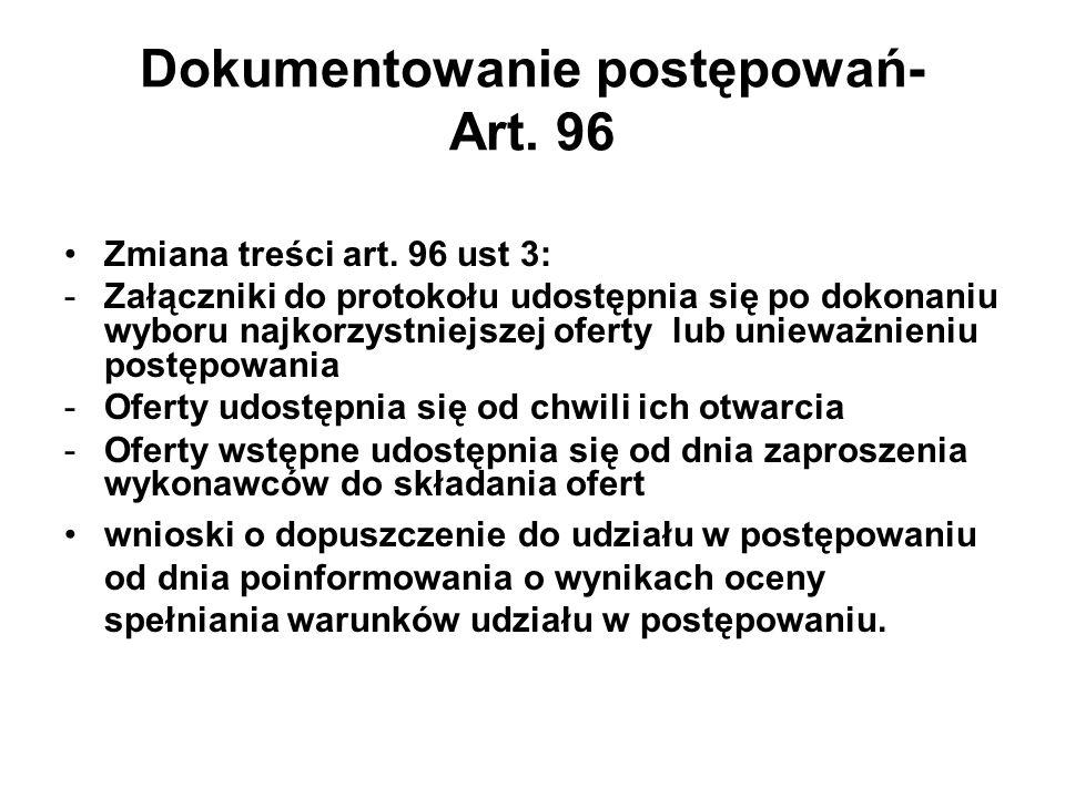 Dokumentowanie postępowań- Art. 96