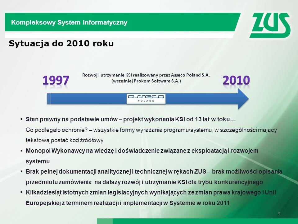 1997 2010 Sytuacja do 2010 roku Kompleksowy System Informatyczny