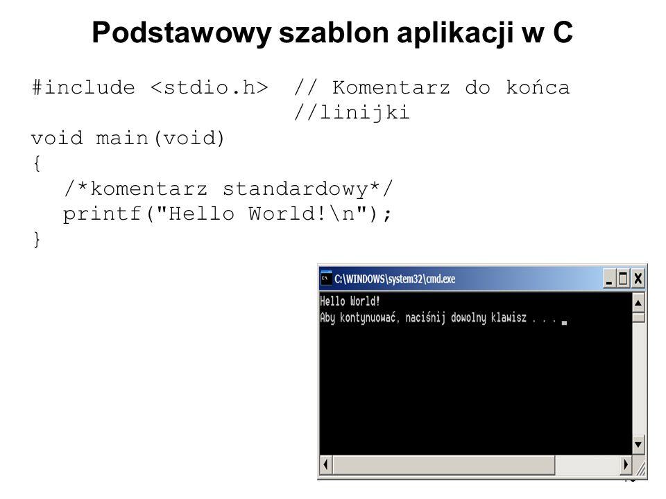 Podstawowy szablon aplikacji w C