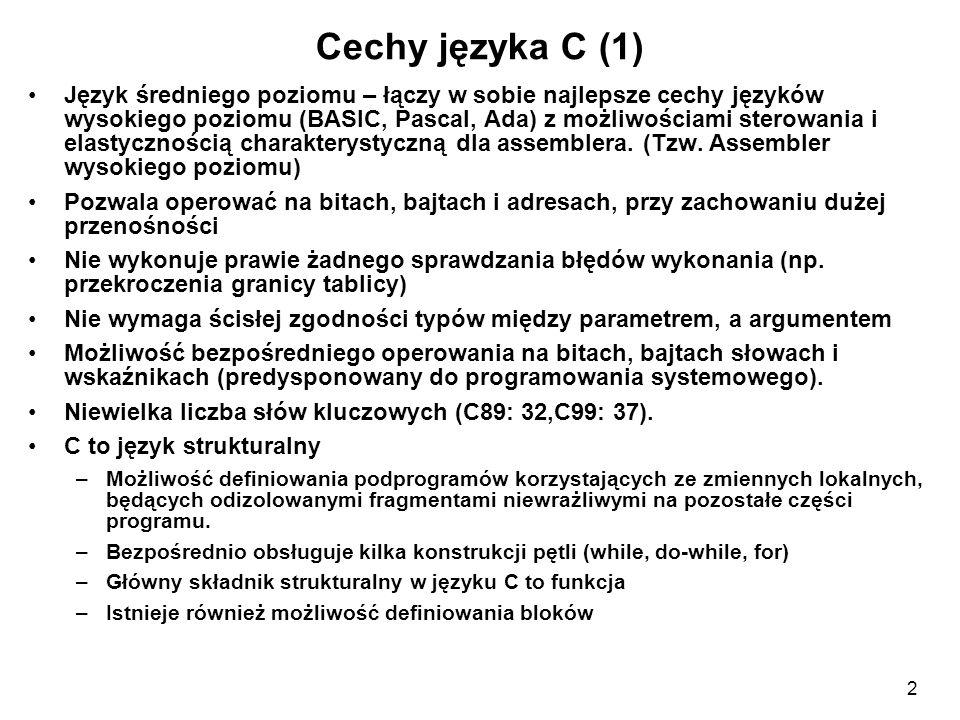 Cechy języka C (1)