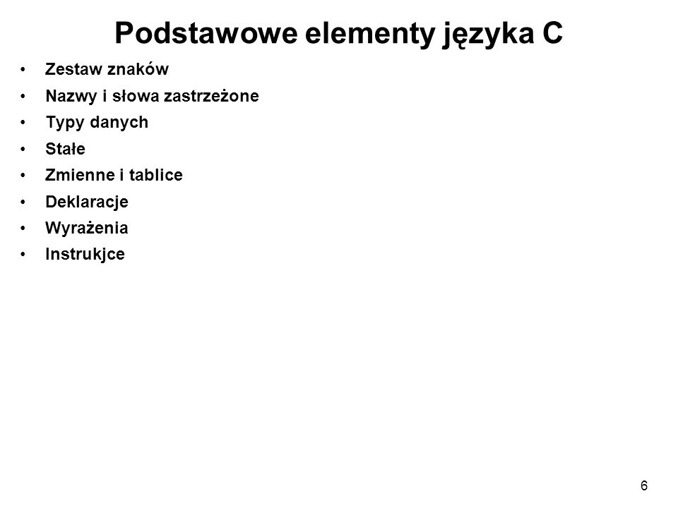 Podstawowe elementy języka C