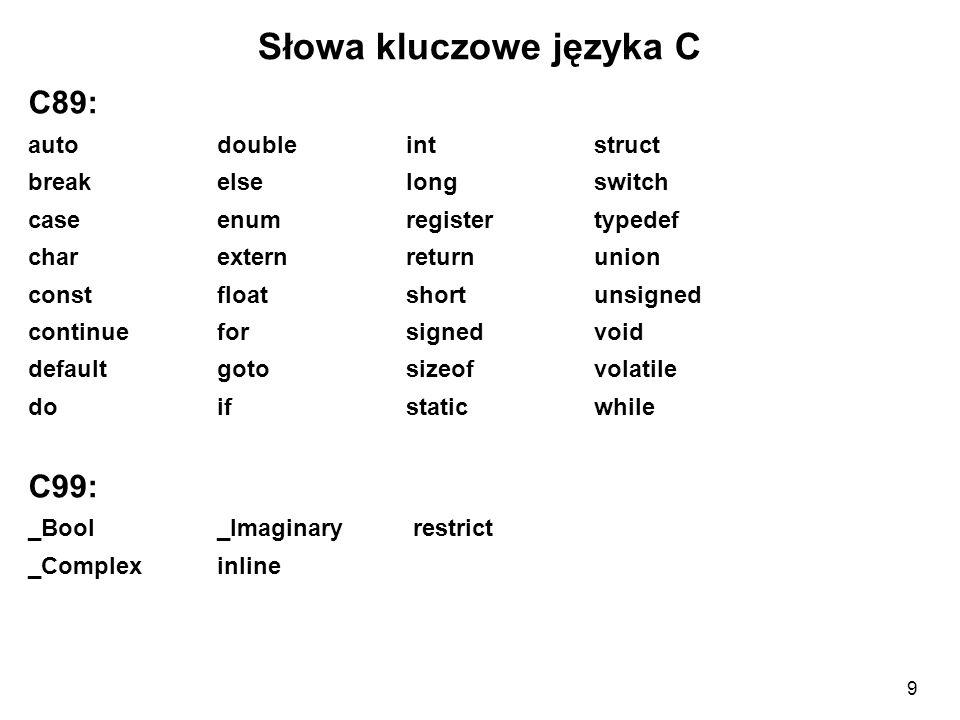 Słowa kluczowe języka C