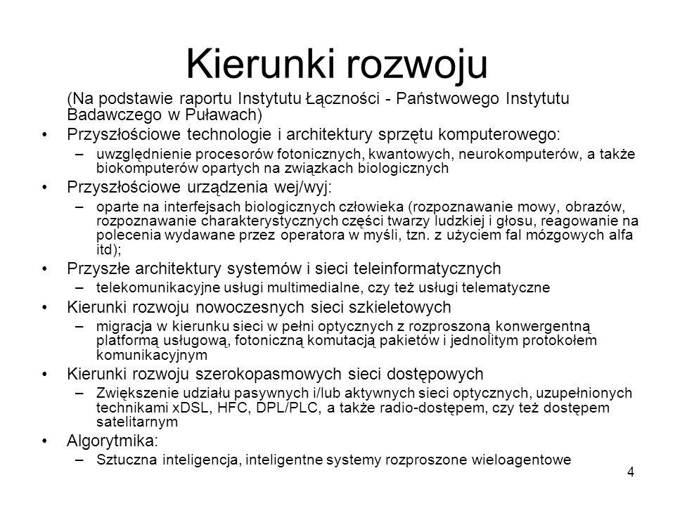 Kierunki rozwoju (Na podstawie raportu Instytutu Łączności - Państwowego Instytutu Badawczego w Puławach)