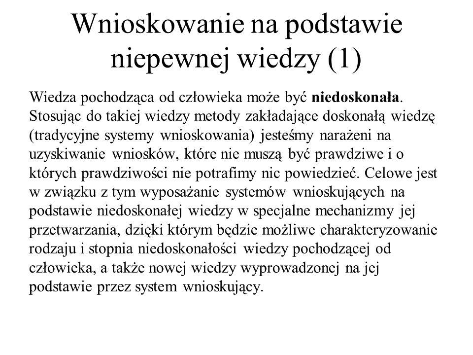 Wnioskowanie na podstawie niepewnej wiedzy (1)