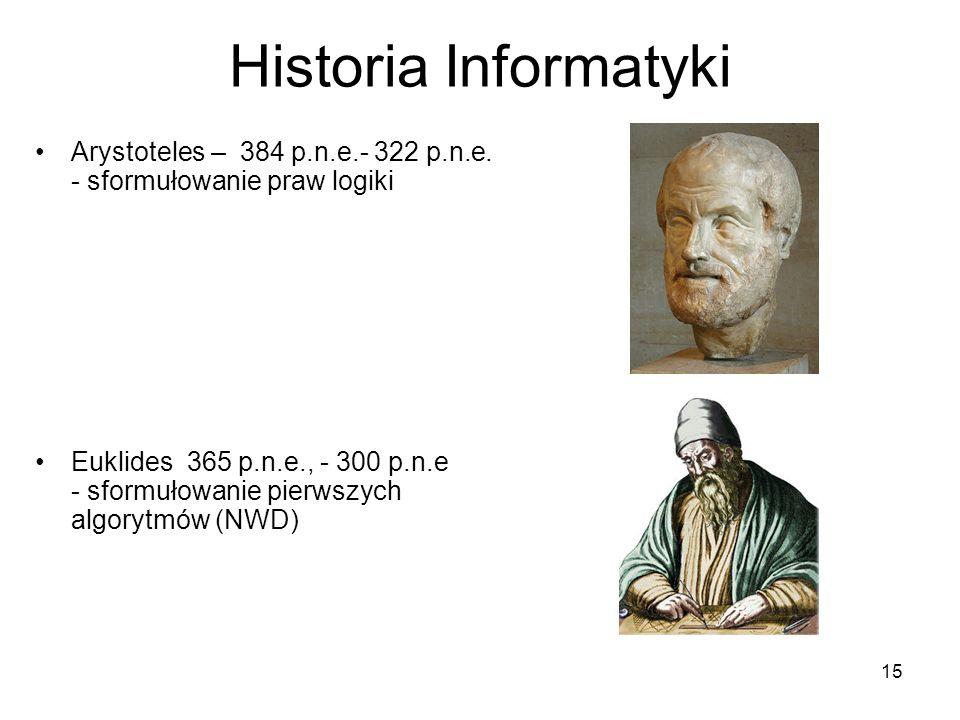 Historia Informatyki Arystoteles – 384 p.n.e.- 322 p.n.e. - sformułowanie praw logiki.