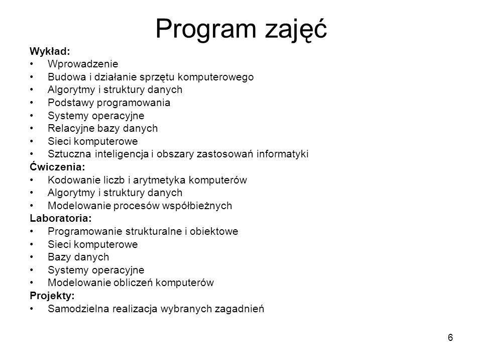 Program zajęć Wykład: Wprowadzenie