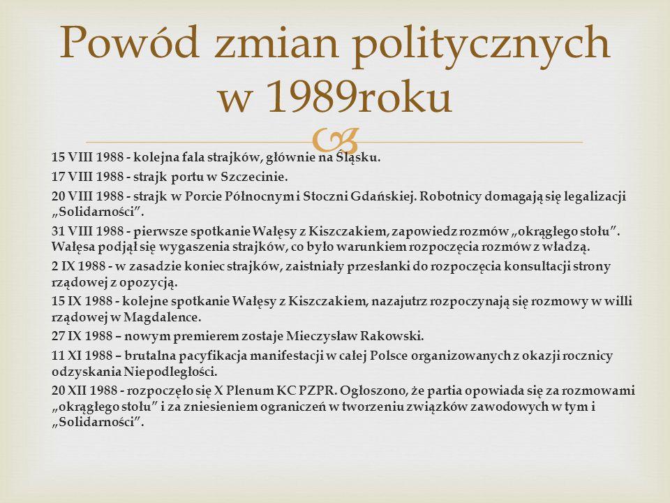 Powód zmian politycznych w 1989roku