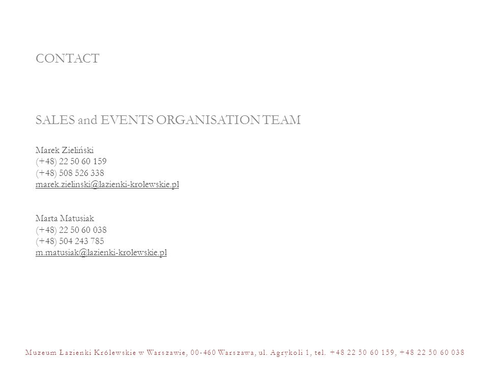 SALES and EVENTS ORGANISATION TEAM