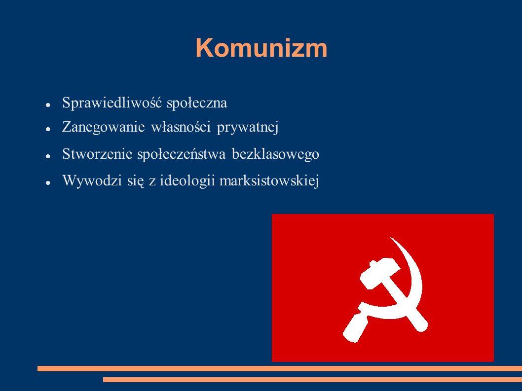 Komunizm Sprawiedliwość społeczna Zanegowanie własności prywatnej