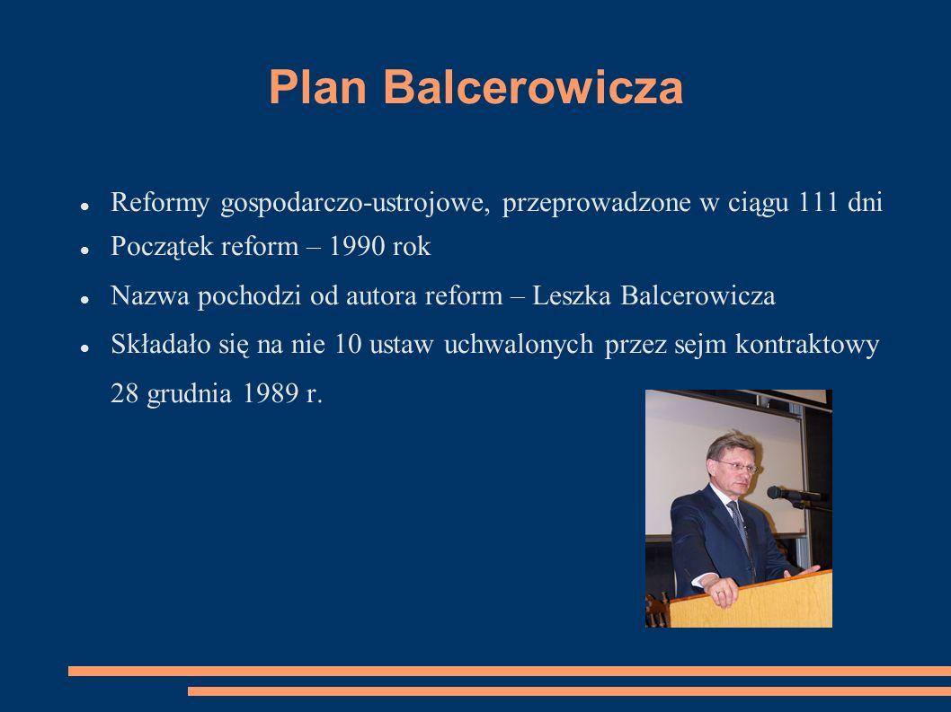 Plan Balcerowicza Reformy gospodarczo-ustrojowe, przeprowadzone w ciągu 111 dni. Początek reform – 1990 rok.