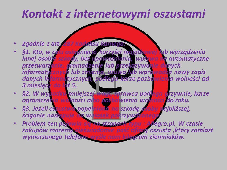 Kontakt z internetowymi oszustami