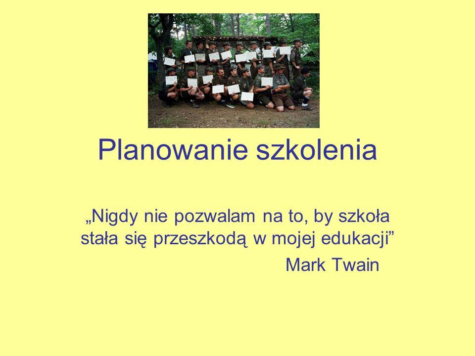 """Planowanie szkolenia """"Nigdy nie pozwalam na to, by szkoła stała się przeszkodą w mojej edukacji Mark Twain."""