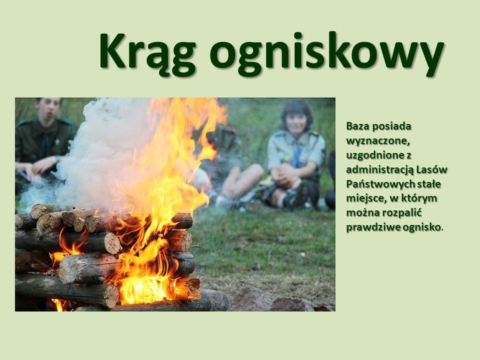 Krąg ogniskowy Baza posiada wyznaczone, uzgodnione z administracją Lasów Państwowych stałe miejsce, w którym można rozpalić prawdziwe ognisko.