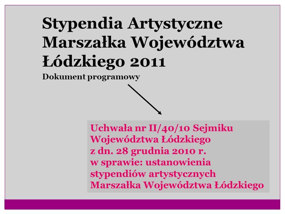 Stypendia Artystyczne Marszałka Województwa Łódzkiego 2011