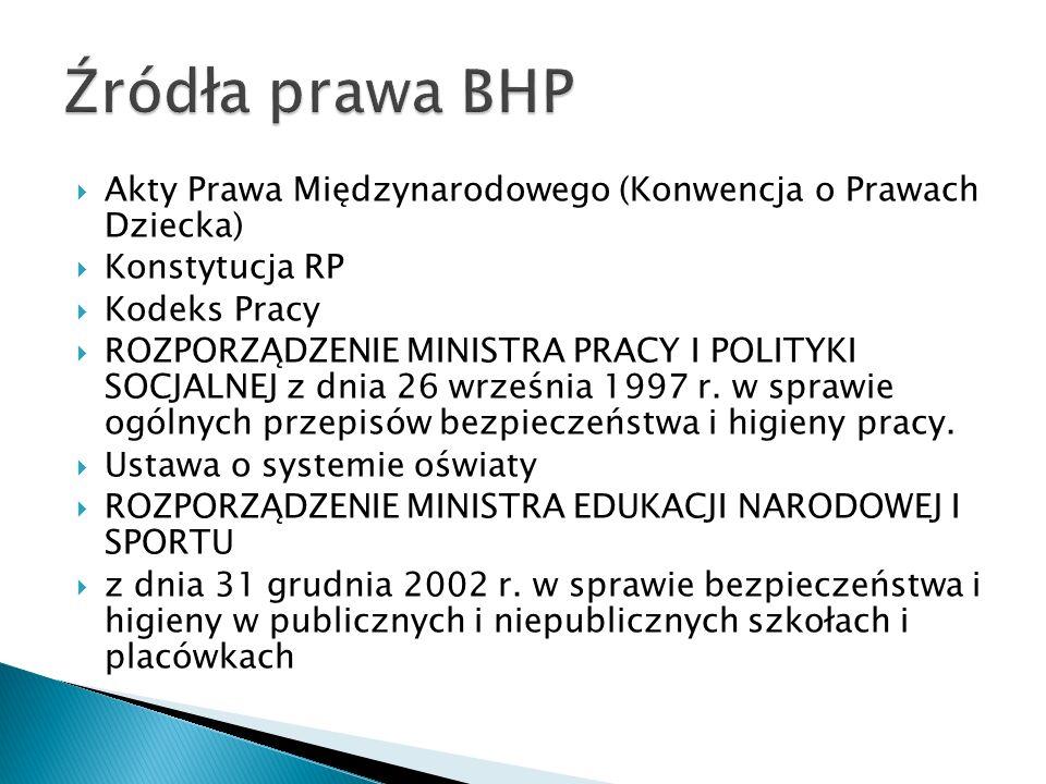 Źródła prawa BHP Akty Prawa Międzynarodowego (Konwencja o Prawach Dziecka) Konstytucja RP. Kodeks Pracy.