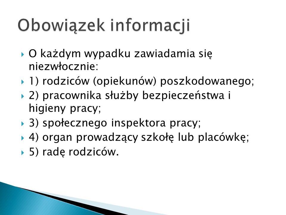 Obowiązek informacji O każdym wypadku zawiadamia się niezwłocznie: