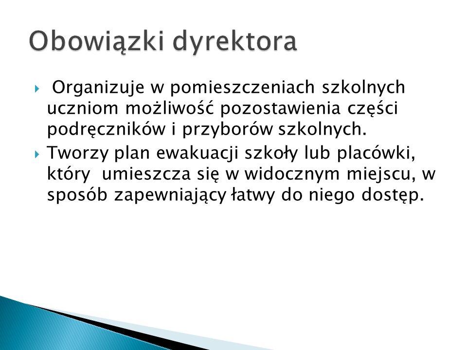 Obowiązki dyrektora Organizuje w pomieszczeniach szkolnych uczniom możliwość pozostawienia części podręczników i przyborów szkolnych.
