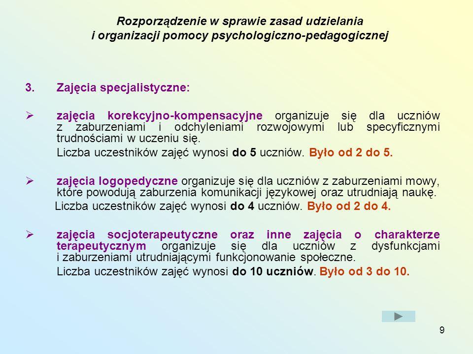 Zajęcia specjalistyczne: