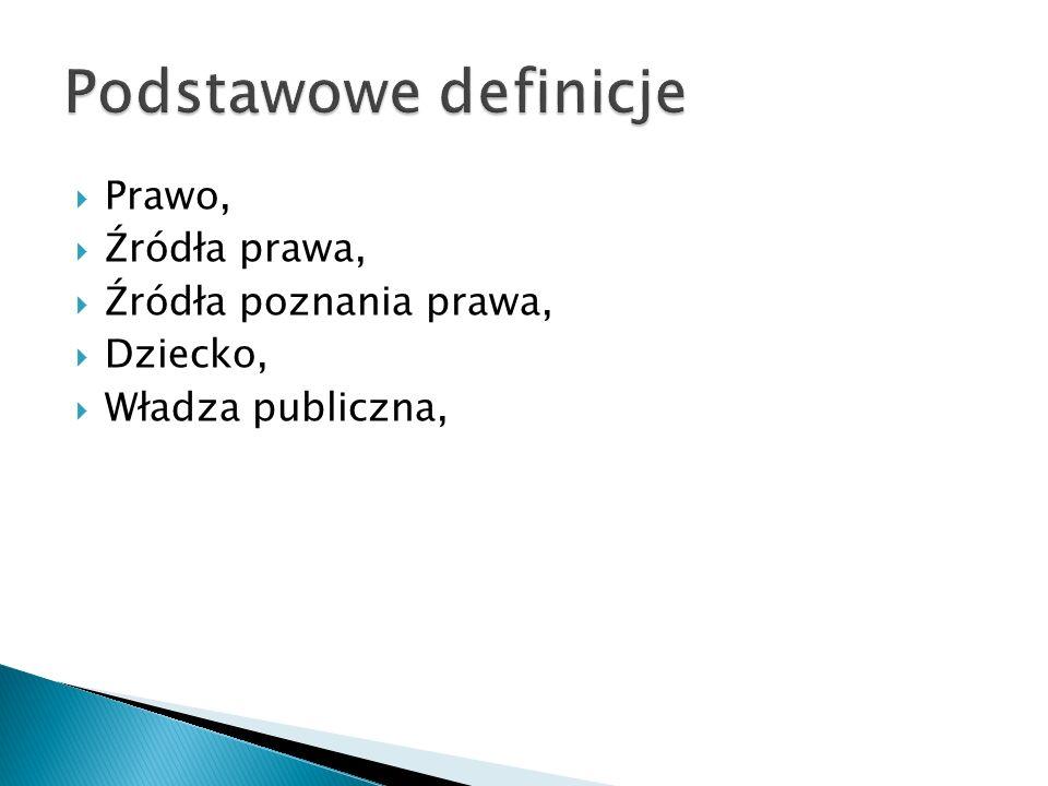 Podstawowe definicje Prawo, Źródła prawa, Źródła poznania prawa,