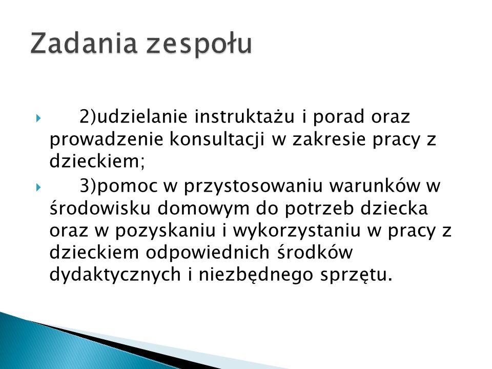 Zadania zespołu 2)udzielanie instruktażu i porad oraz prowadzenie konsultacji w zakresie pracy z dzieckiem;