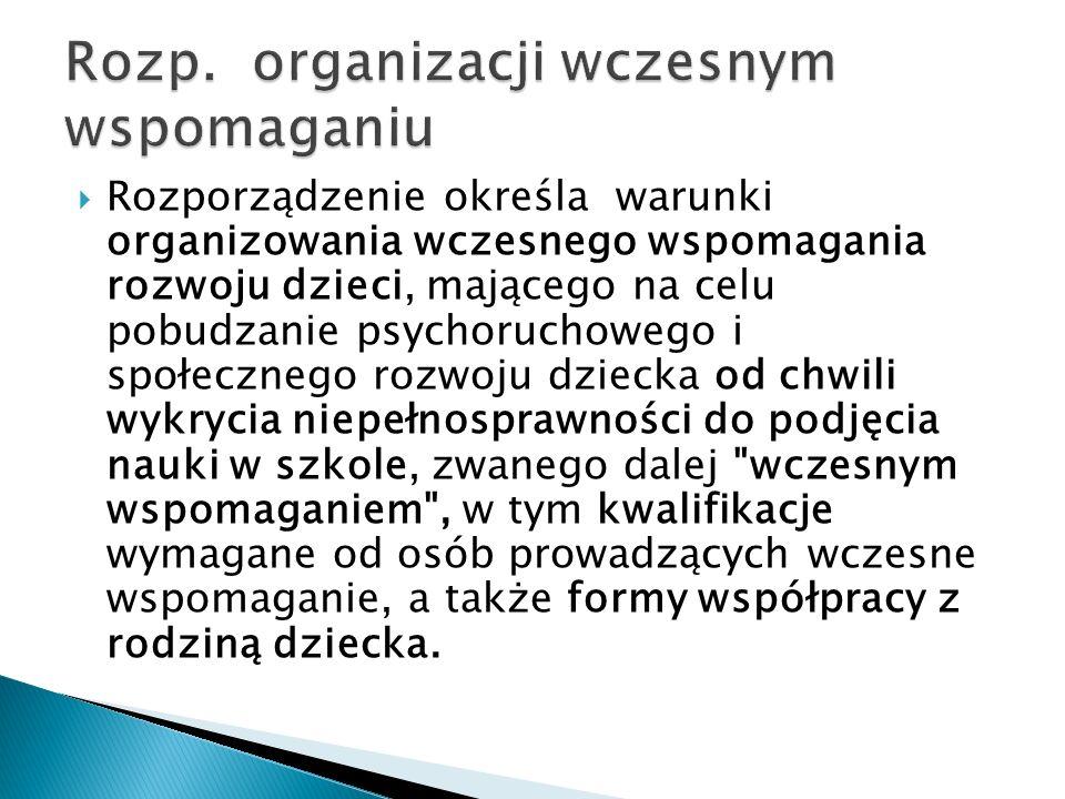 Rozp. organizacji wczesnym wspomaganiu