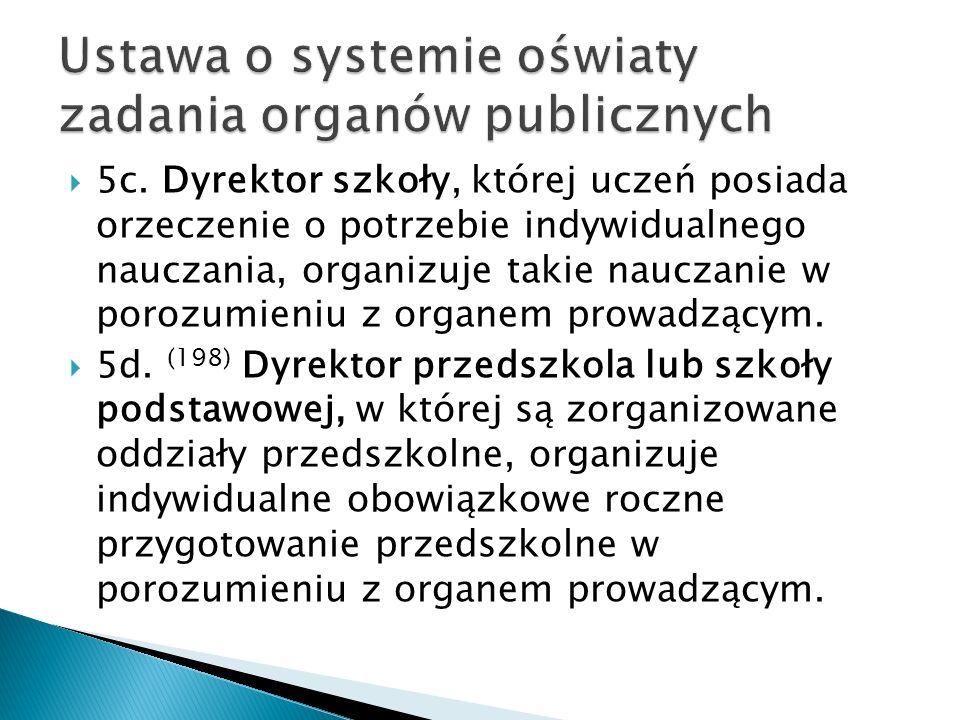 Ustawa o systemie oświaty zadania organów publicznych