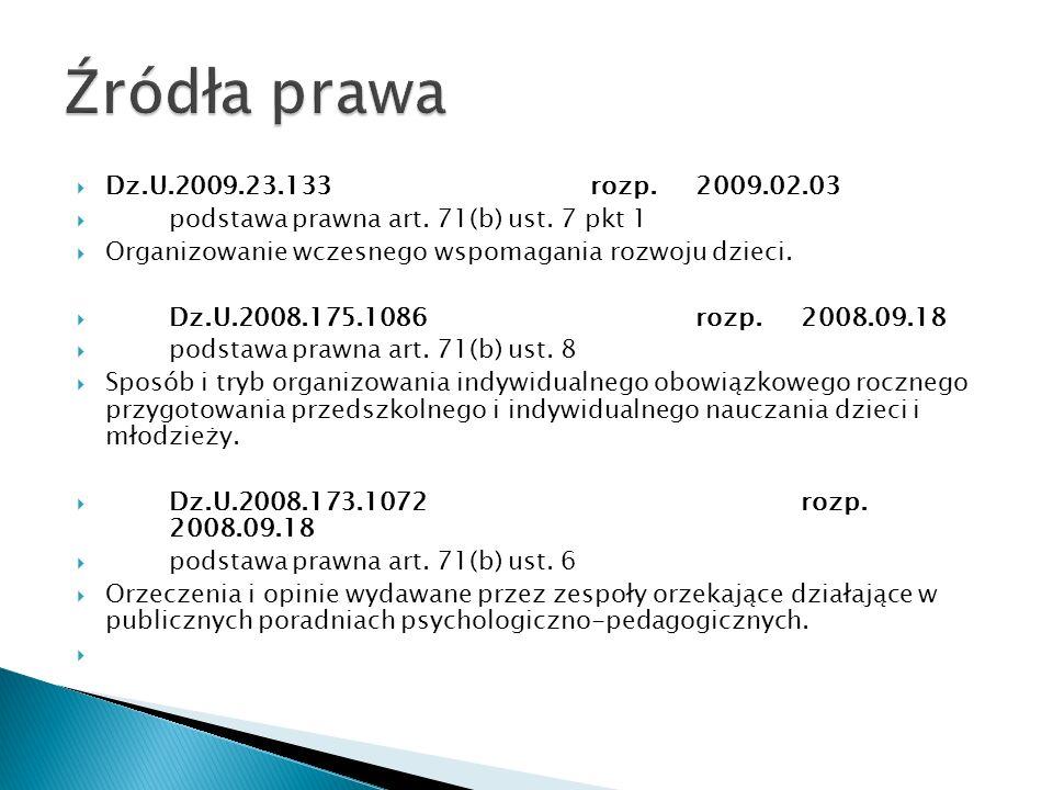 Źródła prawa Dz.U.2009.23.133 rozp. 2009.02.03. podstawa prawna art. 71(b) ust. 7 pkt 1. Organizowanie wczesnego wspomagania rozwoju dzieci.