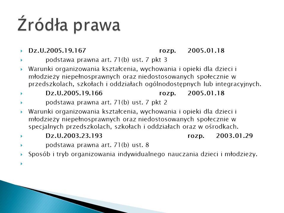 Źródła prawa Dz.U.2005.19.167 rozp. 2005.01.18. podstawa prawna art. 71(b) ust. 7 pkt 3.