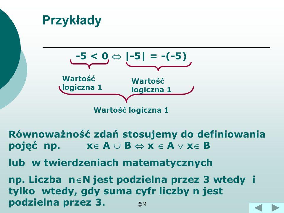 Przykłady -5 < 0  |-5| = -(-5)