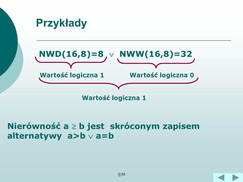 Przykłady NWD(16,8)=8  NWW(16,8)=32