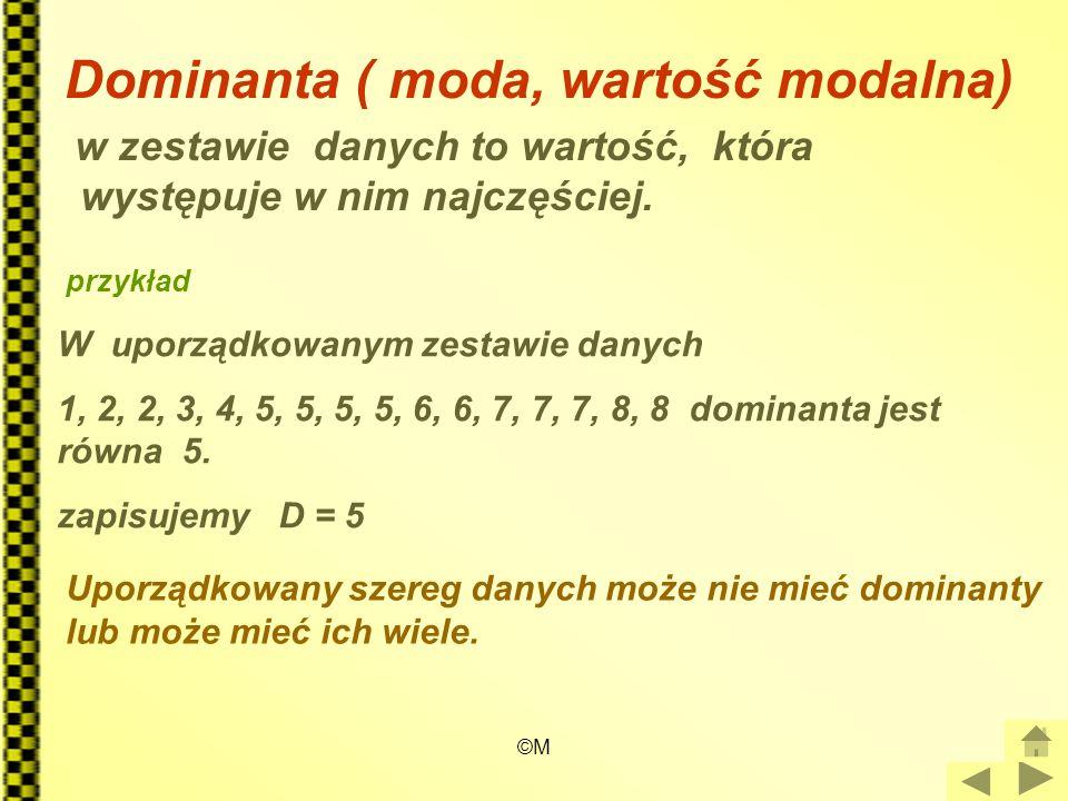 Dominanta ( moda, wartość modalna)