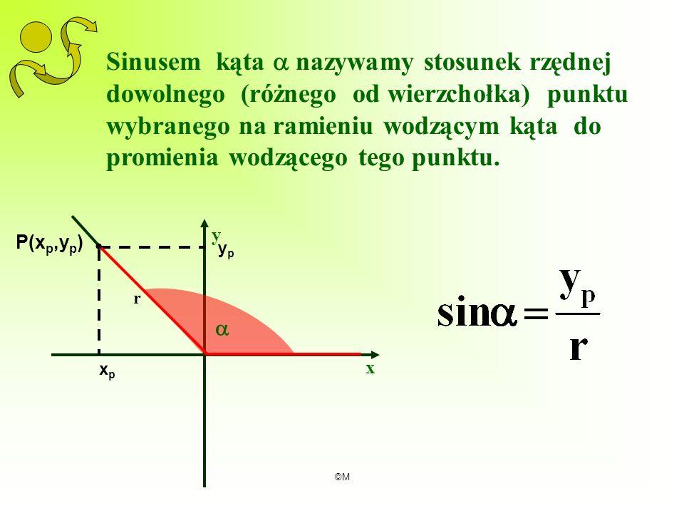 Sinusem kąta  nazywamy stosunek rzędnej dowolnego (różnego od wierzchołka) punktu wybranego na ramieniu wodzącym kąta do promienia wodzącego tego punktu.