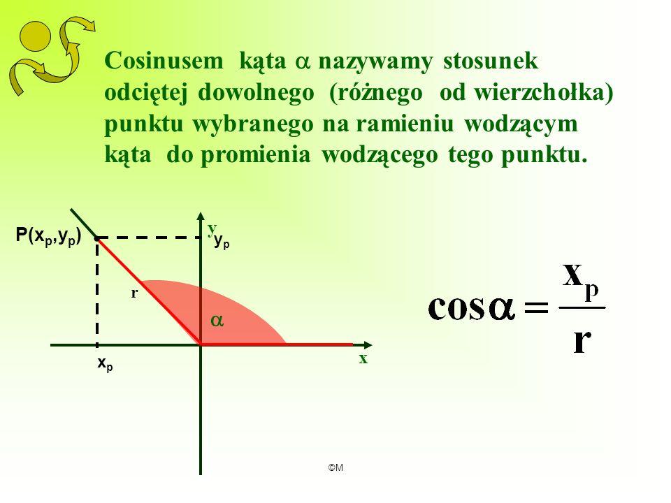 Cosinusem kąta  nazywamy stosunek odciętej dowolnego (różnego od wierzchołka) punktu wybranego na ramieniu wodzącym kąta do promienia wodzącego tego punktu.