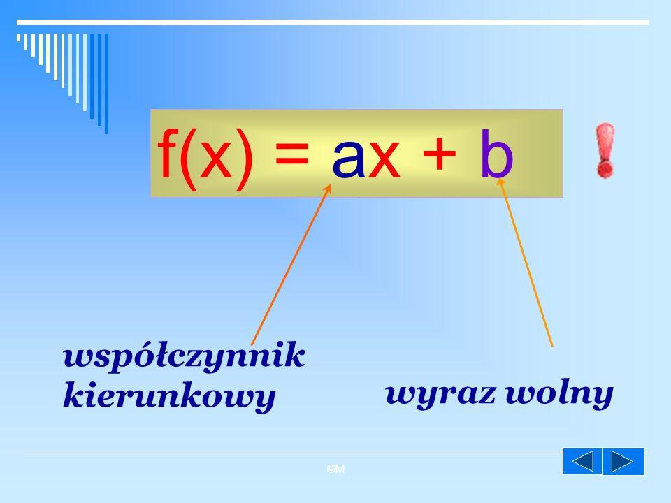f(x) = ax + b współczynnik kierunkowy wyraz wolny ©M