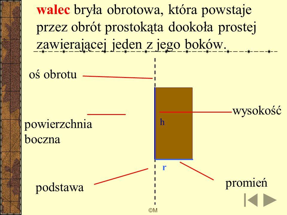 walec bryła obrotowa, która powstaje przez obrót prostokąta dookoła prostej zawierającej jeden z jego boków.