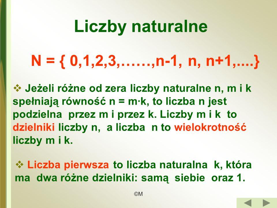 Liczby naturalne N = { 0,1,2,3,……,n-1, n, n+1,....}