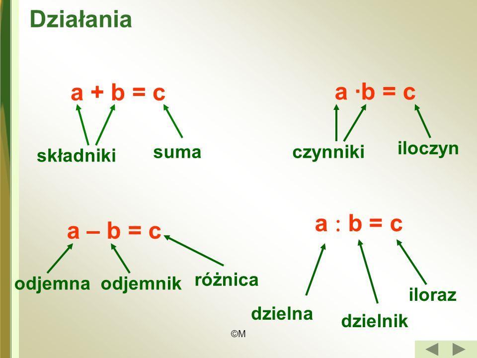 Działania a ·b = c a + b = c a  b = c a – b = c iloczyn suma czynniki
