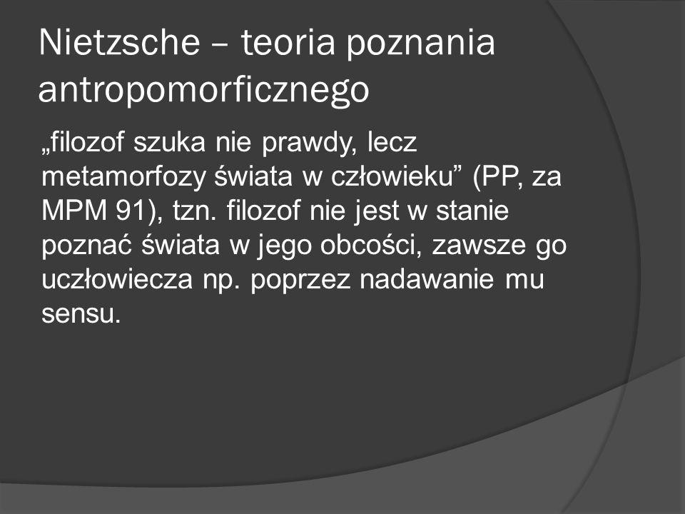 Nietzsche – teoria poznania antropomorficznego