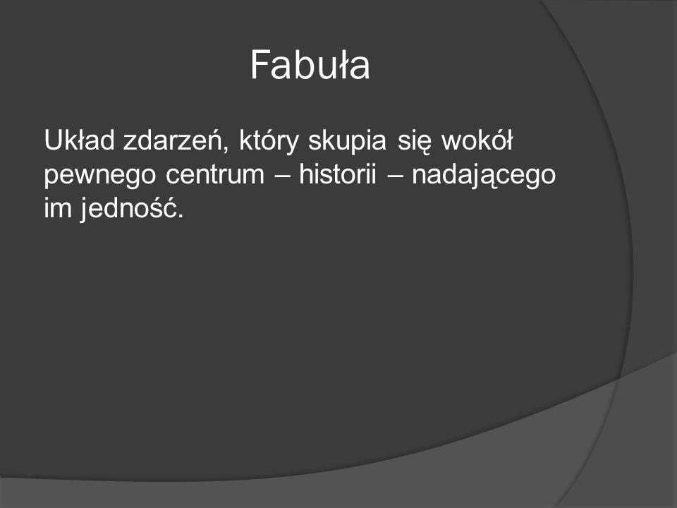 Fabuła Układ zdarzeń, który skupia się wokół pewnego centrum – historii – nadającego im jedność.