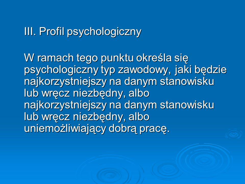 III. Profil psychologiczny