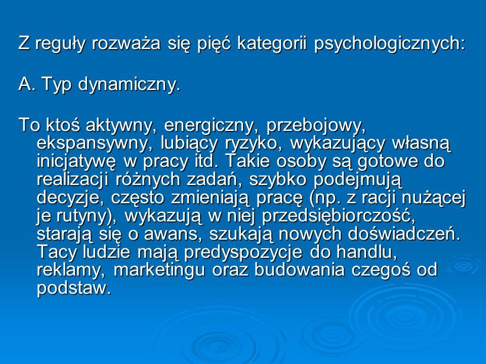 Z reguły rozważa się pięć kategorii psychologicznych: